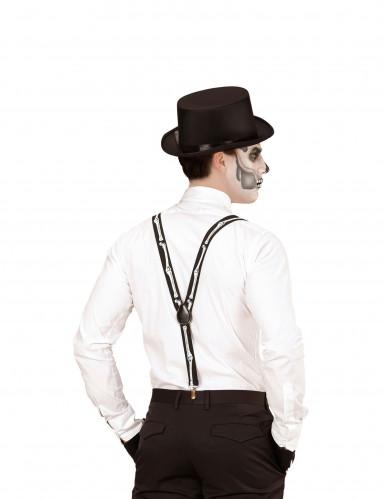 Skelett Hosenträger für Erwachsene schwarz-weiß-1