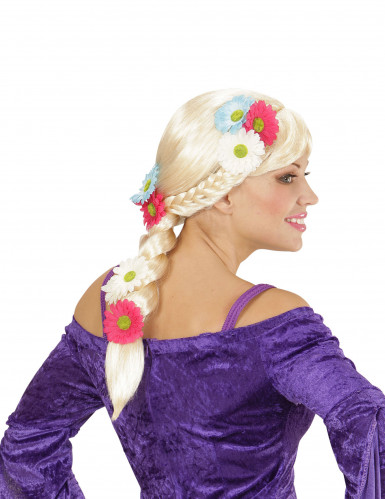 Perücke blond mit Flechte und Blumen für Damen-1