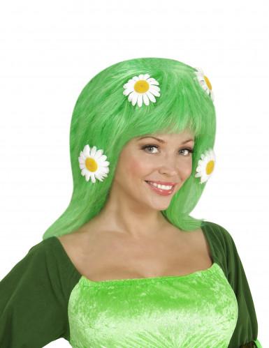 grüne Perücke mit Margeriten für Damen