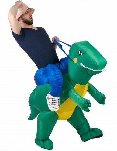 Verkleidung Erforscher auf dem Rücken eines Dinosauriers