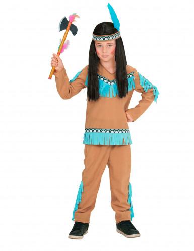 Indianer Kostüm braun blau für Jungen