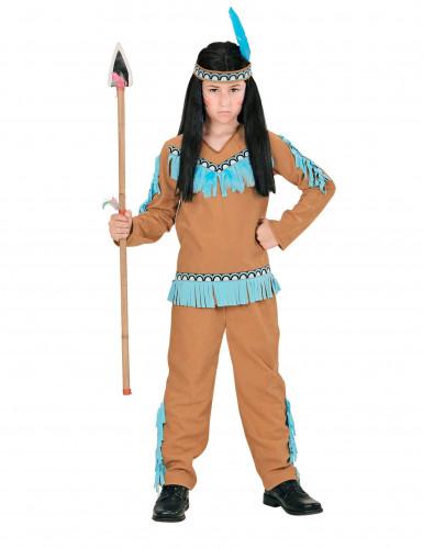 Indianer Kostüm braun blau für Jungen-1