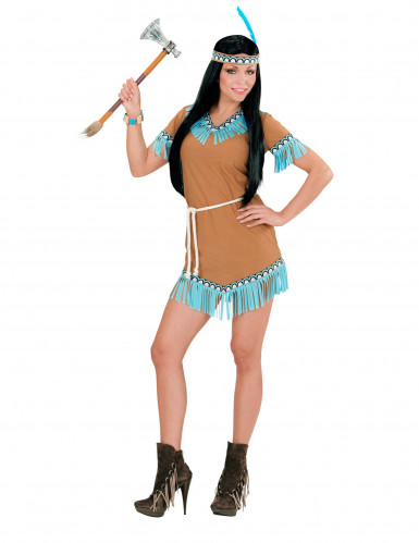 Süße Indianerin Damen-Kostüm braun-blau