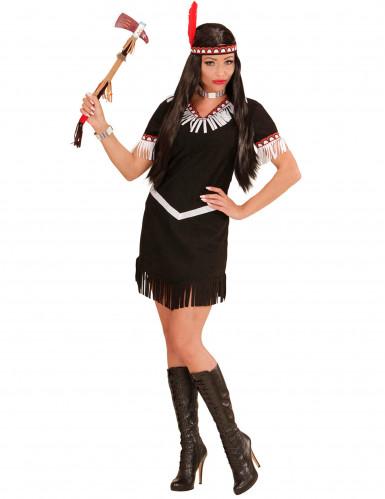 Indianerin-Kostüm für Damen schwarz-weiß