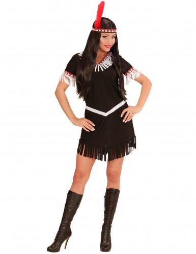 Indianerin-Kostüm für Damen schwarz-weiß-1