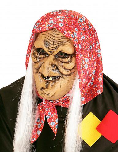 Halb Maske einer Hexe mit weißen Haaren