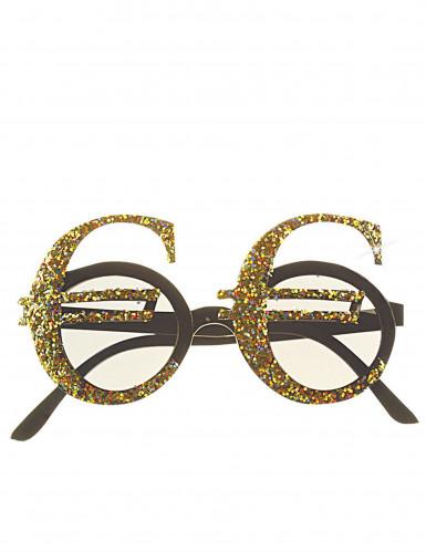 Glitzernde Euro Spaßbrille für Erwachsene gold-1