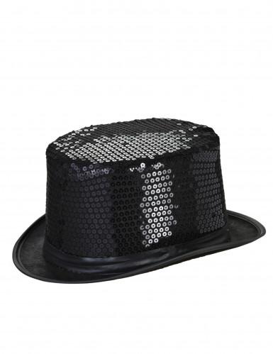schwarzer Zylinderhut mit Pailletten für Erwachsene
