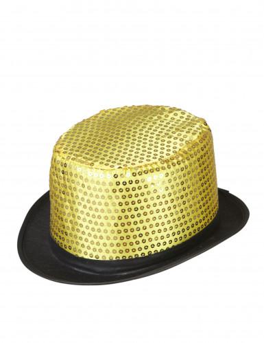 Pailletten-Zylinder für Erwachsene schwarz-gold