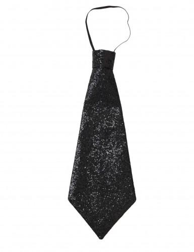 Pailletten-Krawatte für Erwachsene schwarz-2