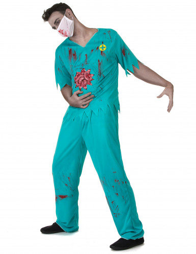 Blutiger Zombie Arzt Kostüm für Herren Halloween-1