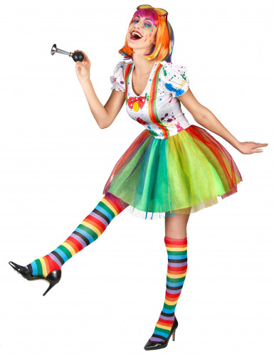 Clownskostüm für Damen mit Farbspritzern-1