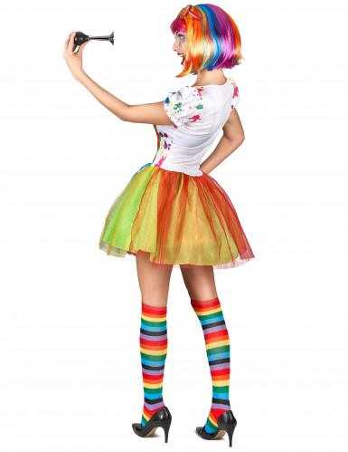 Clownskostüm für Damen mit Farbspritzern-2