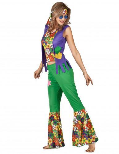 Grünes Hippie Kostüm für Damen-1