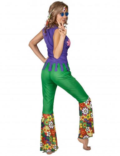 Grünes Hippie Kostüm für Damen-2