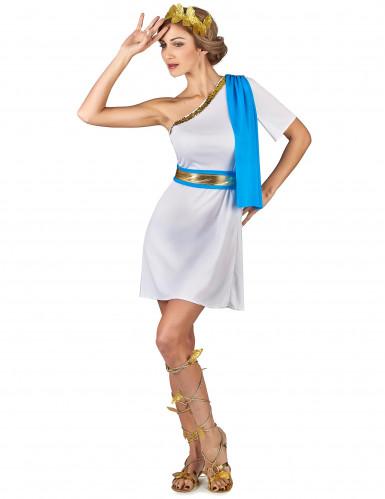 Griechische Kaiserin Kostüm für Damen weiss-goldfarben-blau