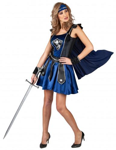 Kostüm Ritterin blau schwarz für Damen-1