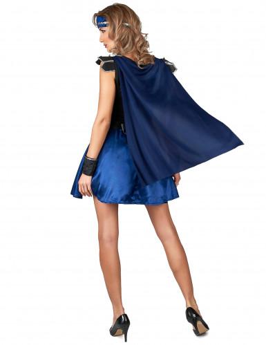 Kostüm Ritterin blau schwarz für Damen-2