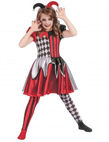 Kostüm böser Harlekin für Mädchen