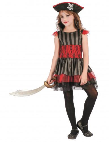 Piratenkostüm rot schwarz für Mädchen