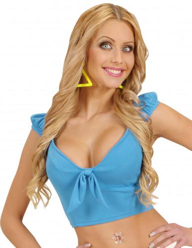 Sexy Top für Damen bauchfrei blau Einheitsgröße