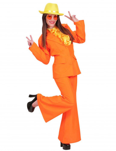 70er Disco-Kostüm für Damen orange