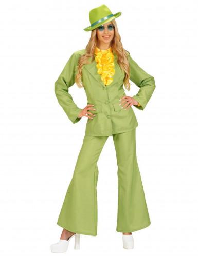 Disco-Kostüm mit Schlaghose für Damen grün