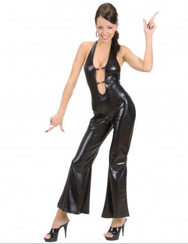 Disco-Kostüm Overall für Damen schwarz