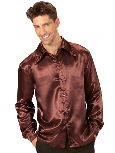 Braunes Hemd samtig für Herren