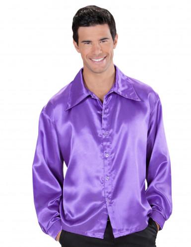 Violett seidig glänzendes Hemd für Herren