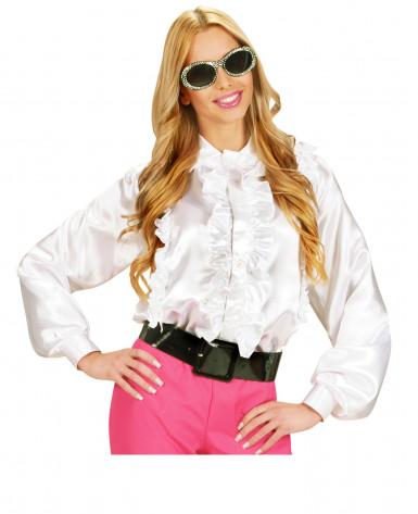 Weißes Hemd mit Rüschen für Damen