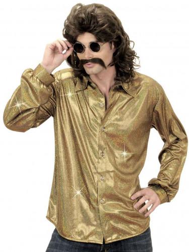 Holografisches Discohemd gold für Herren
