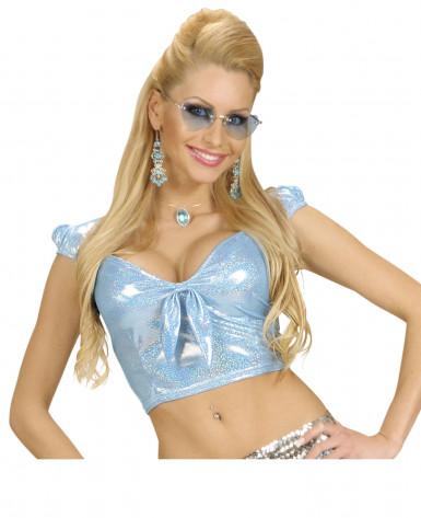 Sexy Top blau mit Schleif für Damen