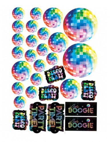 30 Disco-Motive Dekoset aus Pappe