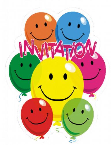 6 Einladungskarten Smile