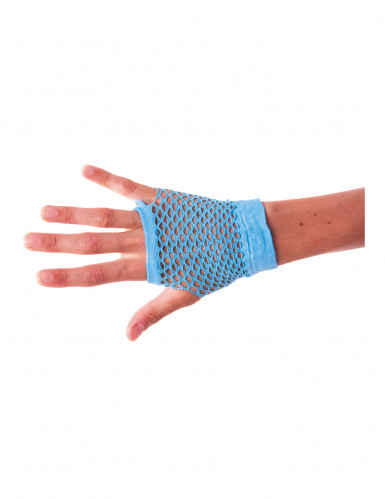Fingerlose Netzhandschuhe für Erwachsene neonblau