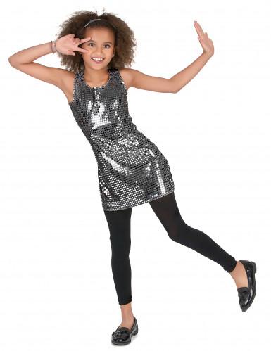 Disco Kostüm für Mädchen Pailletten silber