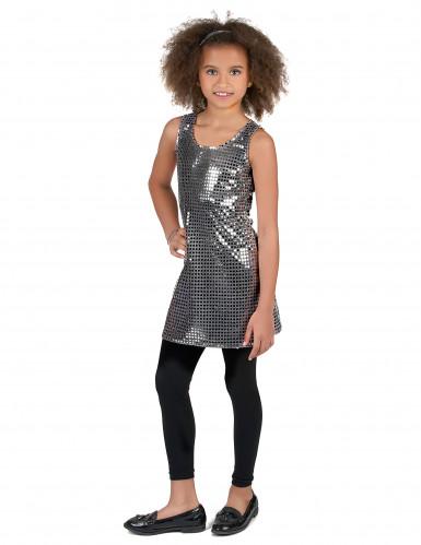 Disco Kostüm für Mädchen Pailletten silber-1