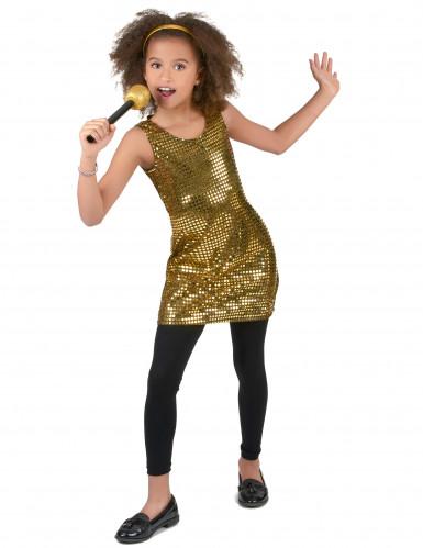 70er-Jahre Disco Kostüm für Mädchen Pailletten gold-1