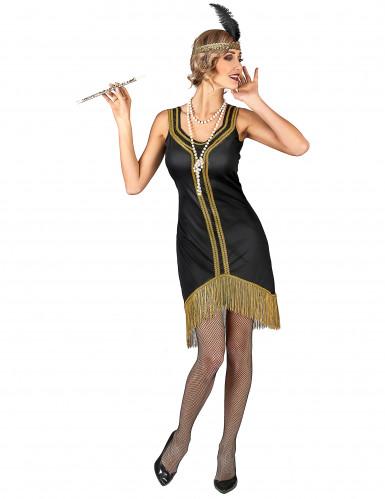 Charleston Kostüm schwarz-gold für Damen