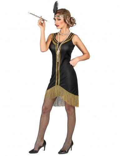 Charleston Kostüm schwarz-orange für Damen-1