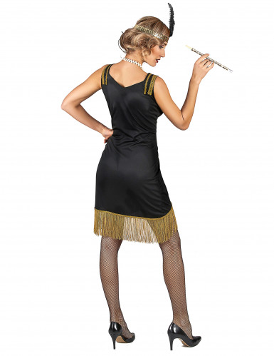 Charleston Kostüm schwarz-orange für Damen-2