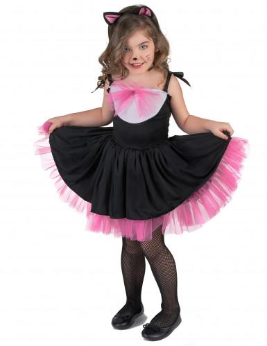 Kostüm Katzentütü für Mädchen rosa und schwarz-1