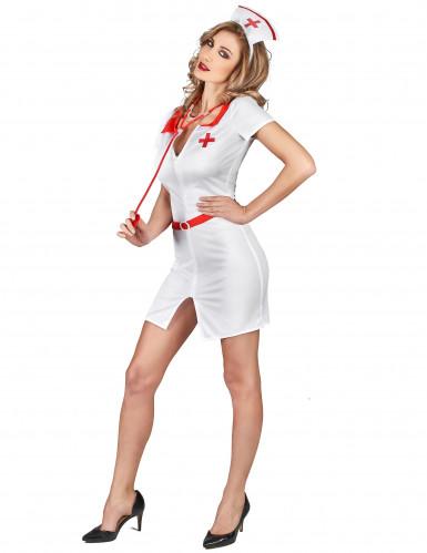 Sexy Krankenschwester Damenkostüm weiss-rot-1