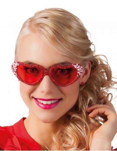 Herz-Brille mit Glitzer und Sternchen für Erwachsene