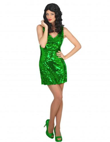 Sexy Disco-Kostüm Paillettenkleid für Damen grün