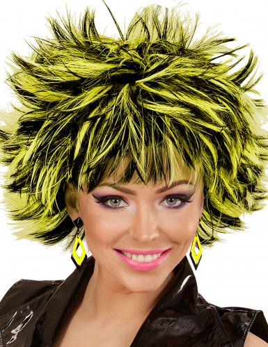 80er Ohrringe Rauten für Damen gelb-schwarz