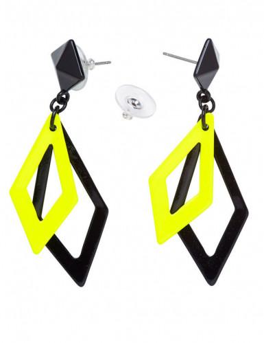 80er Ohrringe Rauten für Damen gelb-schwarz-1