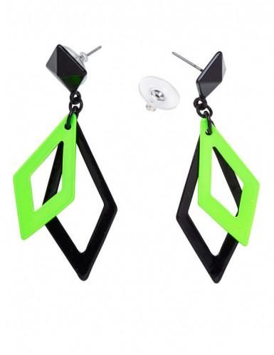 80er Ohrringe Rauten für Damen grün-schwarz-1