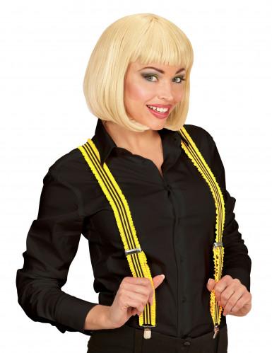 Hosenträger mit Rüschen für Erwachsene gelb